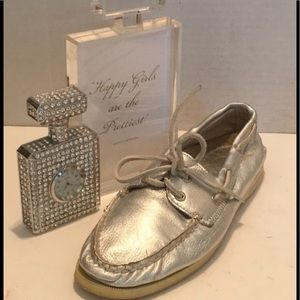 SPERRY TOP- SIDER Silver Leather Slip ON SHOES 9M